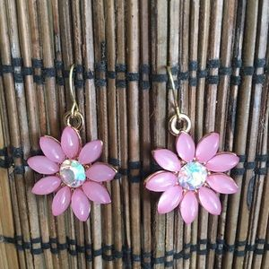Hand Crafted Pink Flowers n Gold Earrings